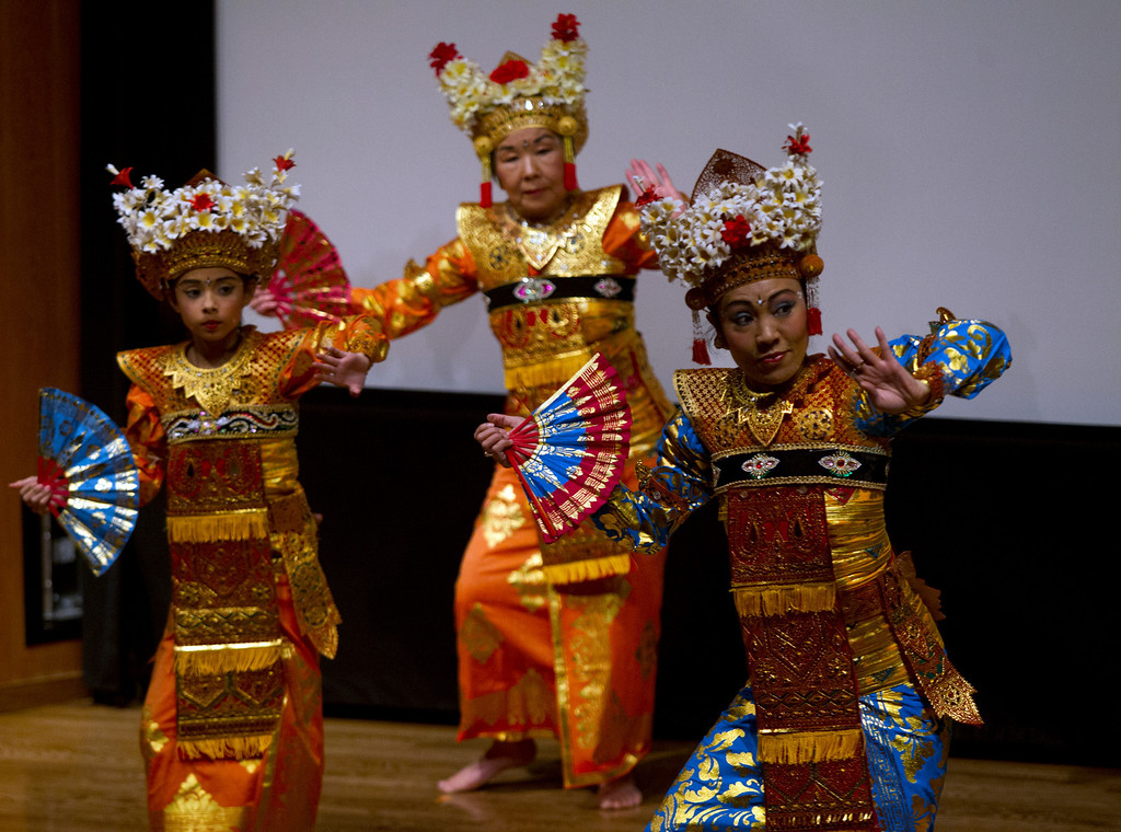 . The Gadung Kasturi dancers perform Balinese dance, during the Oakland Museum of California\'s Lunar New Year celebration to mark the Year of the Snake, Sunday, Feb. 17, 2013 in Oakland, Calif. (D. Ross Cameron/Staff)
