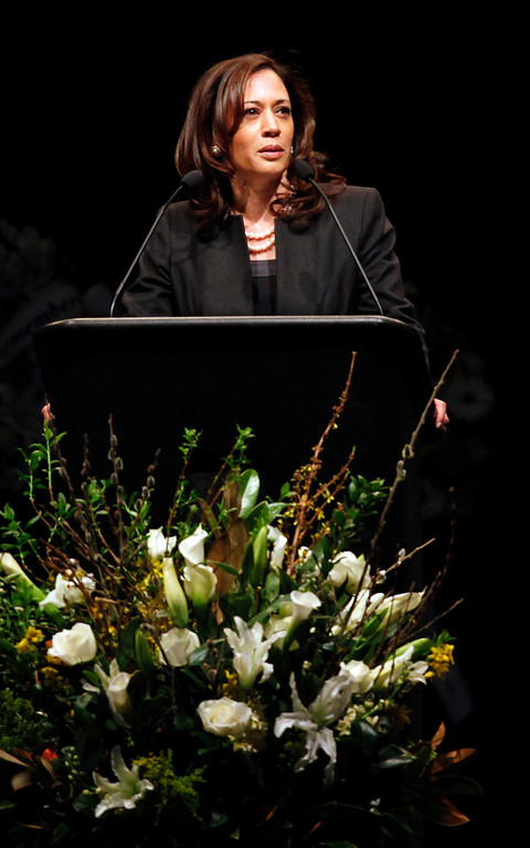 ". Attorney General Kamala Harris speaks during memorial service for Santa Cruz police officers Sgt. ""Butch\"" Baker and Detective Elizabeth Butler at the HP Pavilion on Thursday, March 7, 2013 in San Jose, Calif. The two were killed in the line of duty during an ambush in Santa Cruz last week. (Karl Mondon/Staff)"