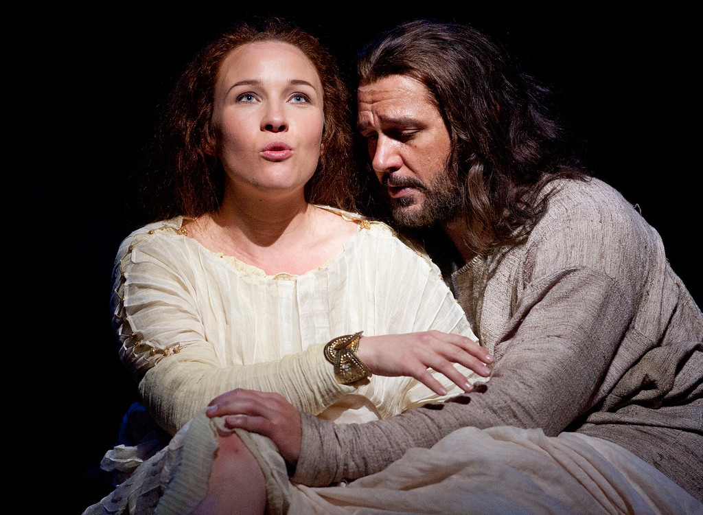 """. Sasha Cooke, left, portrays Mary Magdalene, and Nathan Gunn plays Yeshua (Jesus) in San Francisco Opera\'s world premiere of Mark Adamo\'s \""""The Gospel of Mary Magdalene,\"""" Sunday, June 16, 2013 at the War Memorial Opera House in San Francisco. (D. Ross Cameron/Bay Area News Group)"""