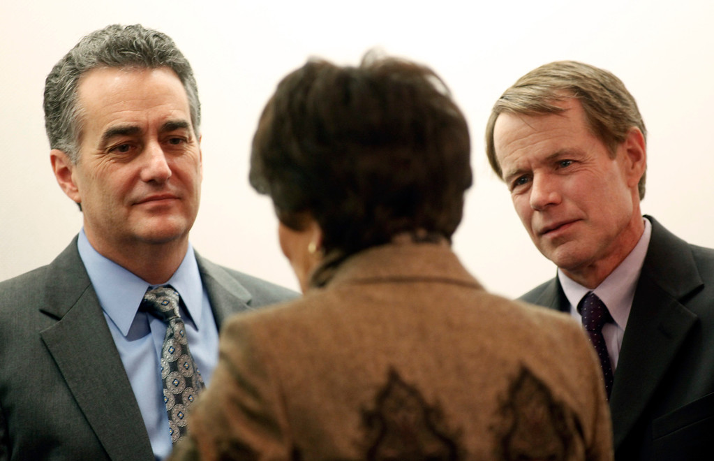 . Supervisors Mike Wasserman and Ken Yeager, president of the County of Santa Clara Board of Supervisors, share a moment with Rep. Anna Eshoo, D-Palo Alto after the 2013 State of the County Address was delivered by Yeager in the Board Chambers on Tuesday Jan. 29, 2013 in San Jose, Calif. (Karl Mondon/Staff)