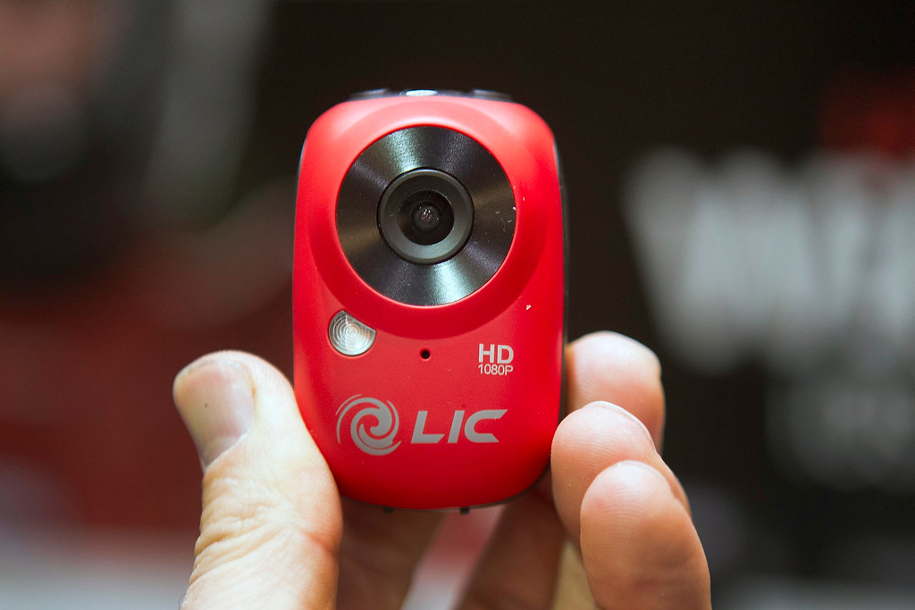 . An EGO video camera is displayed at the opening press event of the Consumer Electronics Show (CES) in Las Vegas January 6, 2013. The Wi-Fi enabled camera mountable Full HD camera has live view features through a smart device. The camera retails for $179.00. (REUTERS/Steve Marcus)