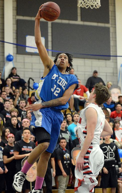 . Mt. Eden High\'s Jalen Dominic (32) goes up for a layup in the second period of their NCS Division II boys basketball semifinal game against Dublin High in Dublin, Calif., on Wednesday, Feb. 27, 2013. Dublin High went on to win the game 85-53. (Doug Duran/Staff)