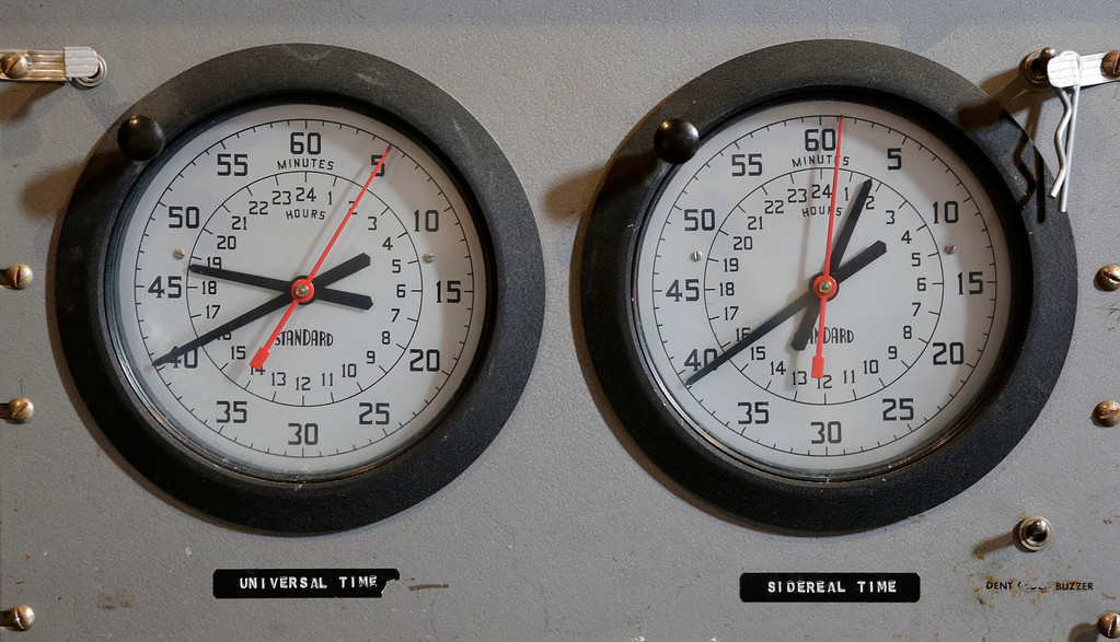 """. A pair of clocks are used in the control panel of the 36\"""" Refractor telescope at Lick Observatory east of San Jose, Calif. on Wednesday, May 8, 2013. The observatory will be celebrating its 125th anniversary.  (Gary Reyes/ Bay Area News Group)"""