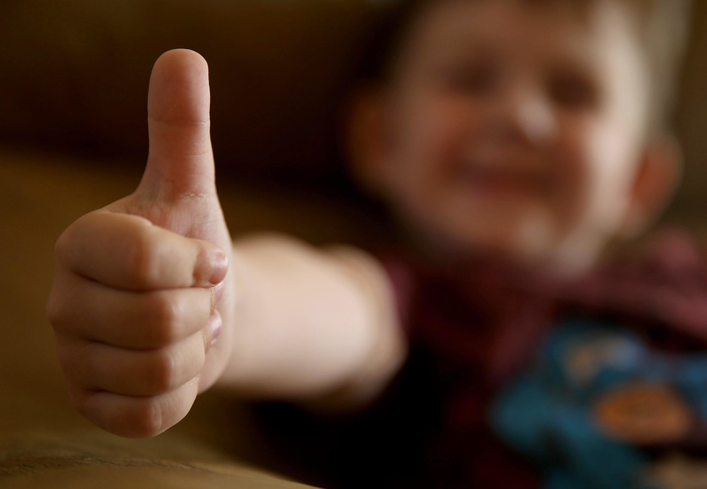 . Matthew Ouimet, 3, gives the thumbs up sign at his home  in Antioch, Calif., on Thursday, May 22, 2014.  (Jane Tyska/Bay Area News Group)