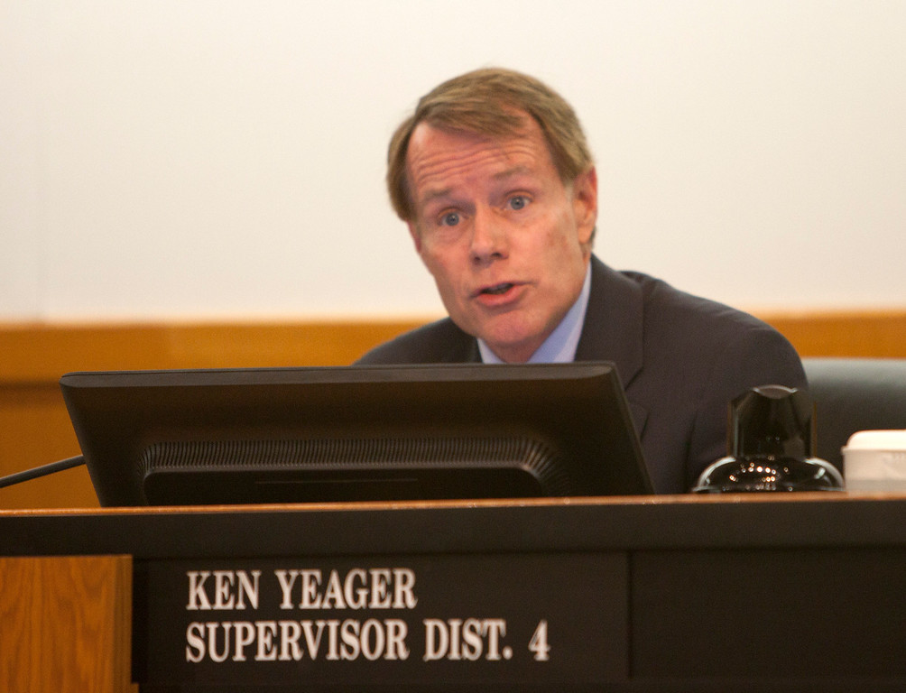 . Supervisor Ken Yeager makes a point as Santa Clara County Supervisors hold a special meeting Tuesday, March 5, 2013 at the County Government Center in San Jose. The meeting was to decide how to fill the District 2 post vacated by George Shirakawa Jr., who resigned Friday after criminal charges were filed against him. (Patrick Tehan/Staff)