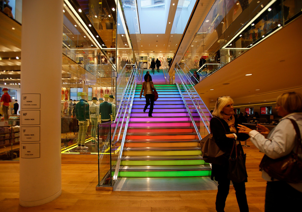 . The stair case to the upper floors from the main floor at the Uniqlo clothing store on Powell St. in downtown San Francisco, Calif. on Thursday, Jan. 17, 2013.  They opened their store in San Francisco in October 2012.  (Nhat V. Meyer/Staff)