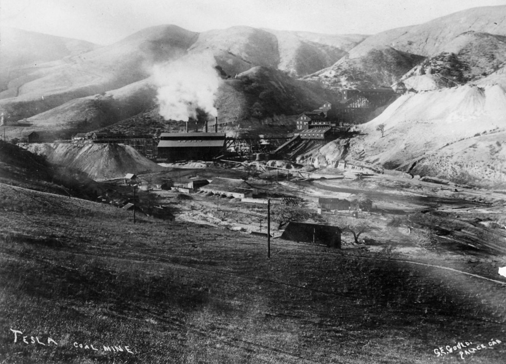 ". A view of the Tesla mines, looking west, by photographer G. E. Gould, ""Palace Car.\""  (Livermore Heritage Guild Collection)"