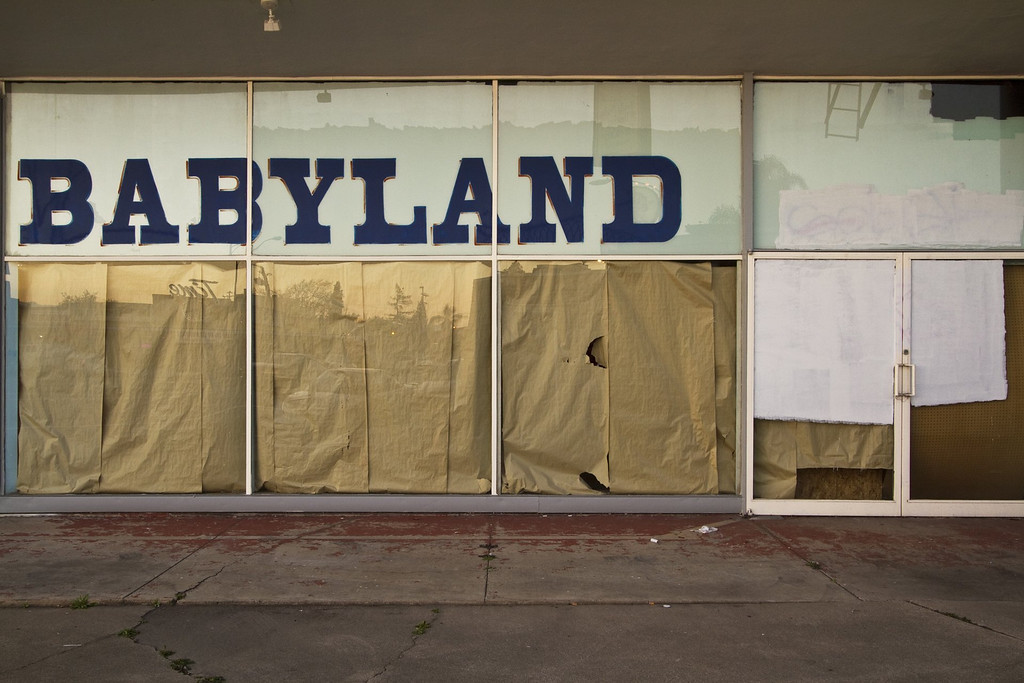 . The shuttered Babyland on Bascom Avenue in San Jose, as captured by photographer Joshua Marcotte who has a passion for collecting images of objects from days gone by. A joint show with local artist Kori Thompson will open on Friday, Aug. 9, 2013, at San Jose\'s Empire Seven Studios.