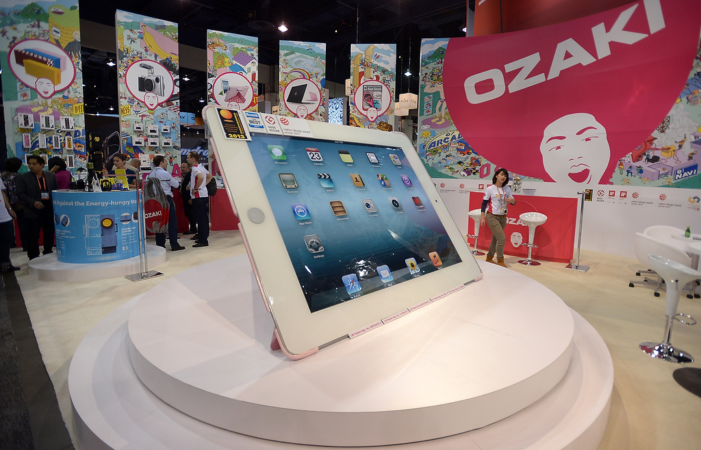 . The model of giant iPad at Ozaki booth is seen at the 2013 International CES at the Las Vegas Convention Center on January 8, 2013 in Las Vegas, Nevada. (JOE KLAMAR/AFP/Getty Images)