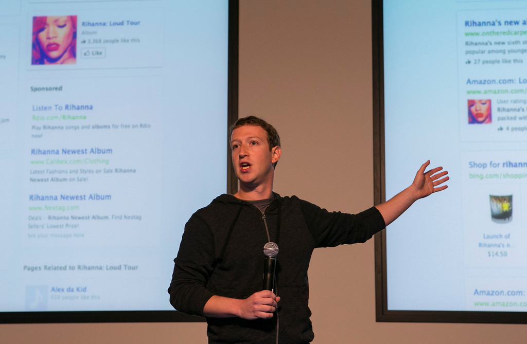 . Mark Zuckerberg announces Graph Search during a press conference at Facebook in Menlo Park, Calif., on Tuesday, Jan. 15, 2013. The new search feature will be rolled out today in a beta version. The new search tools will let Facebook\'s 1 billion users scour the social network for information about people, photos, places and other interests. (John Green/Staff)