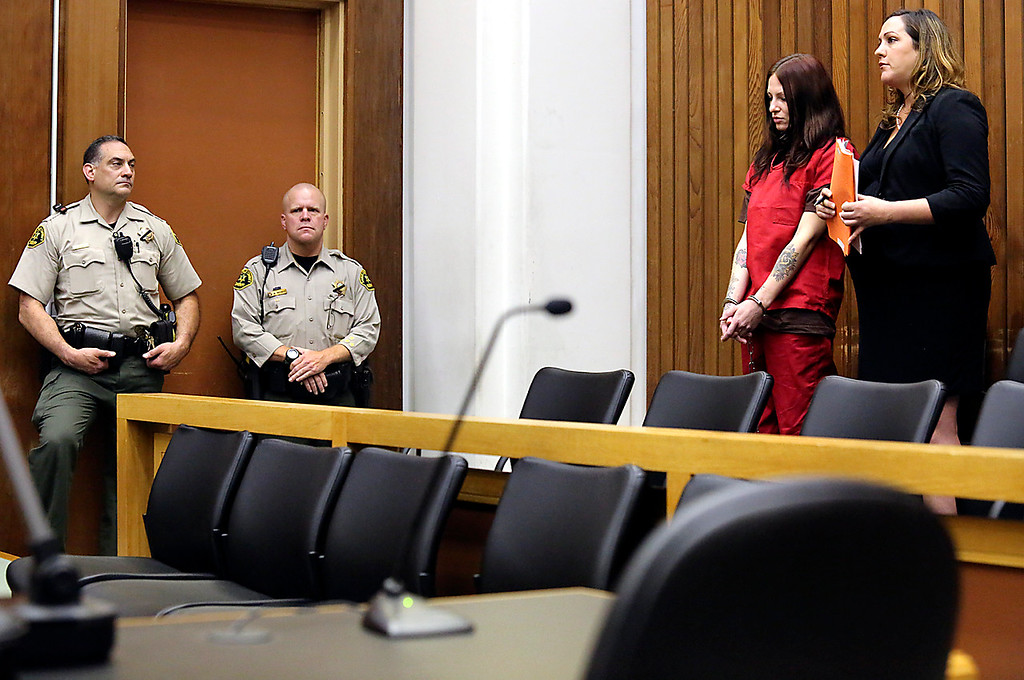 . Alix Tichelman is arraigned on Wednesday on manslaughter charges for the death of Google executive Forrest Hayes as she appears in Santa Cruz County Superior Court with public defender Athena Reis. (Shmuel Thaler/Santa Cruz Sentinel)