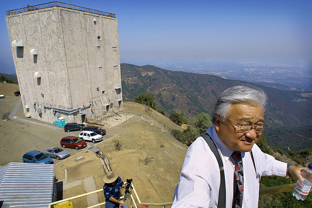 . 2002: Rep. Mike Honda walks up a tower  atop Mt. Umunhum after a press conference about efforts to secure federal funding to clean up the former military site. (Rick E. Martin, Mercury News)