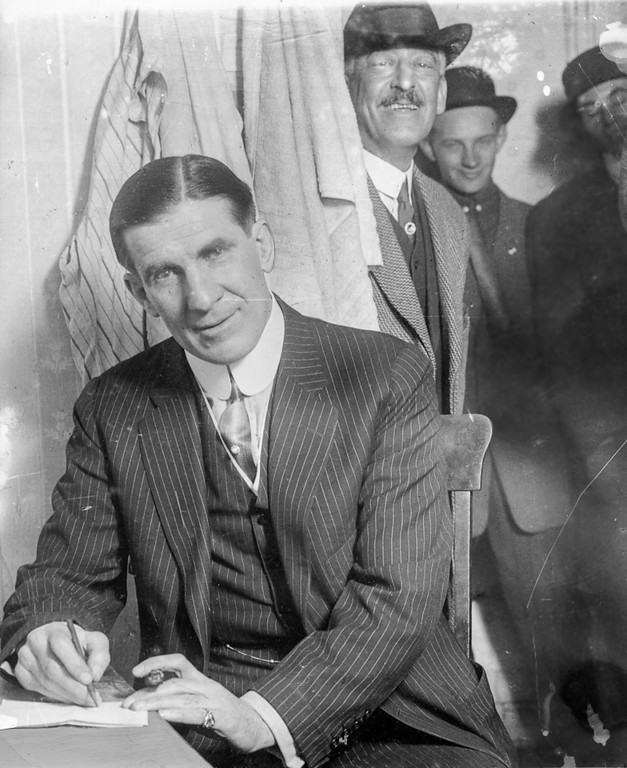 """. Oakland, CA Circa 1924 - James J. \""""Gentleman Jim\"""" Corbett turned to vaudeville at the Orpheum Theatre after he hung up his gloves. (Edward \""""Doc\"""" Rogers / Oakland Tribune)"""