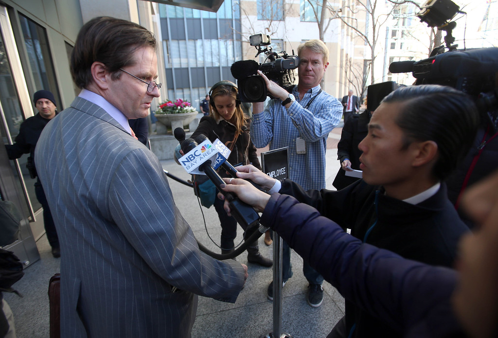 . Christopher Dolan, attorney for the family of Jahi McMath, 13, speaks to the media before heading to a closed settlement hearing in the United States District Court at the Ronald V. Dellums Federal Building in Oakland, Calif., on Friday, Jan. 3, 2014.  (Jane Tyska/Bay Area News Group)
