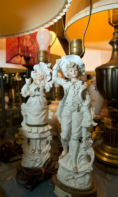 . Table lamps at the annual White Elephant Sale, at the Oakland Museum Women\'s Board 96,000-square-foot warehouse in Oakland, Calif., photographed Tuesday, Jan. 15, 2013. (D. Ross Cameron/Staff)