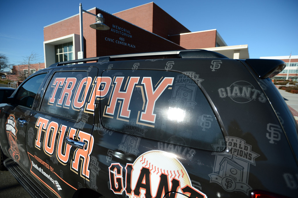 . The San Francisco Giants World Series Trophy Tour makes a stop at the Richmond Memorial Auditorium in Richmond, Calif. on Monday, Jan. 14, 2013.  (Kristopher Skinner/Staff)