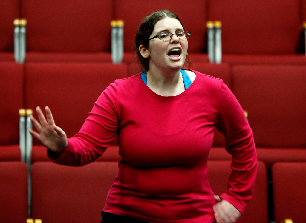 . Caitlin Shratter sings during her audition during a casting call for Great America theme park for their various characters and dancers in Hall Todd Theatre at San Jose State University on Wednesday, Feb. 6, 2013.  (Nhat V. Meyer/Staff)