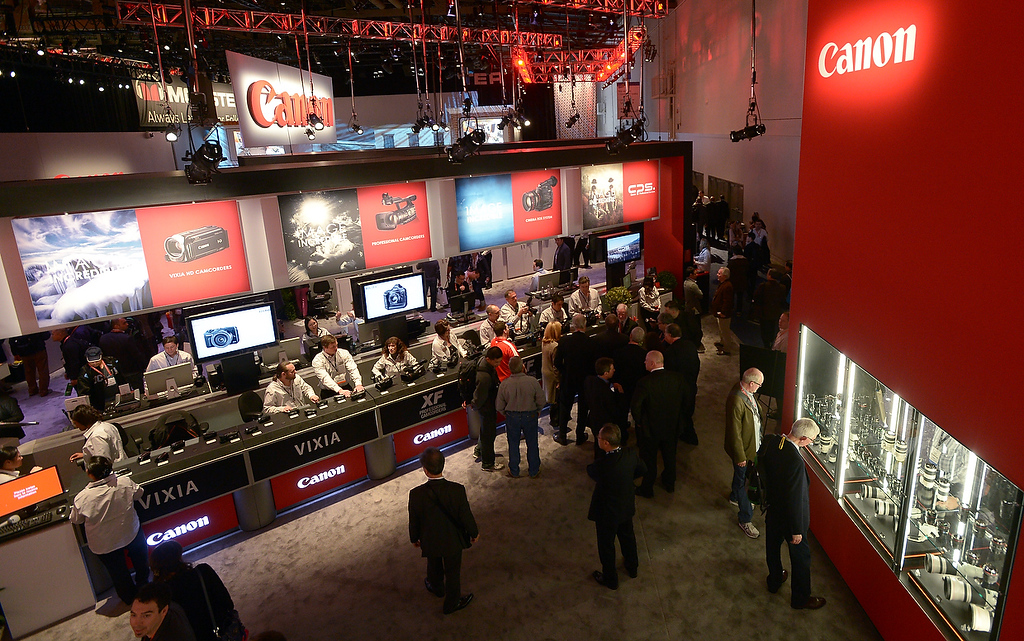. Visitors tour the Canon booth during the 2013 International CES at the Las Vegas Convention Center on January 8, 2013 in Las Vegas, Nevada. (JOE KLAMAR/AFP/Getty Images)