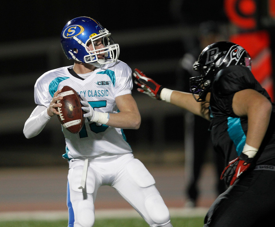 . North quarterback Zach Kazakoff passes for an 80-yard touchdown against the South in the second quarter of the Literacy All-Star high school football game at San Jose City College in San Jose, Calif. on Saturday, Jan. 26, 2013. (Jim Gensheimer/Staff)