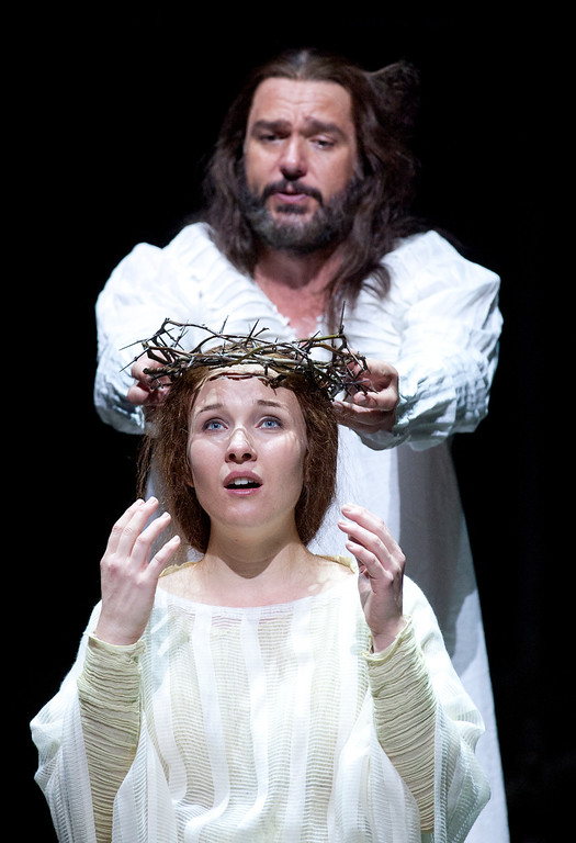 """. Yeshua (Nathan Gunn), top, places his crown of thorns on the head of Mary Magdalene (Sasha Cooke), in a scene from San Francisco Opera\'s world premiere of Mark Adamo\'s \""""The Gospel of Mary Magdalene,\"""" Sunday, June 16, 2013 at the War Memorial Opera House in San Francisco. (D. Ross Cameron/Bay Area News Group)"""
