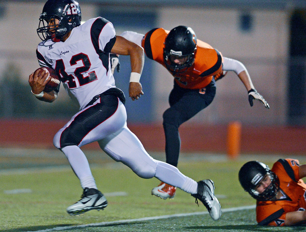 . <p>10. WARREN MILES LONG � RUNNING BACK � JAMES LOGAN</p> Long (42) scores a touchdown against California in the first quarter of their NCS Division I semifinal game in San Ramon, Calif. on Saturday, November 24, 2012. (Jose Carlos Fajardo/Staff)