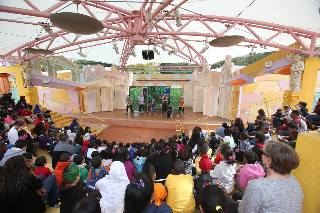 """. Children from Emerson Elementary School watch San Francisco Shakespeare actors perform \""""A Midsummer Night\'s Dream\"""" on the Aesop\'s Playhouse stage at Children\'s Fairyland in Oakland, Calif., on Friday, March 15, 2013. Jane Tyska/Staff)"""