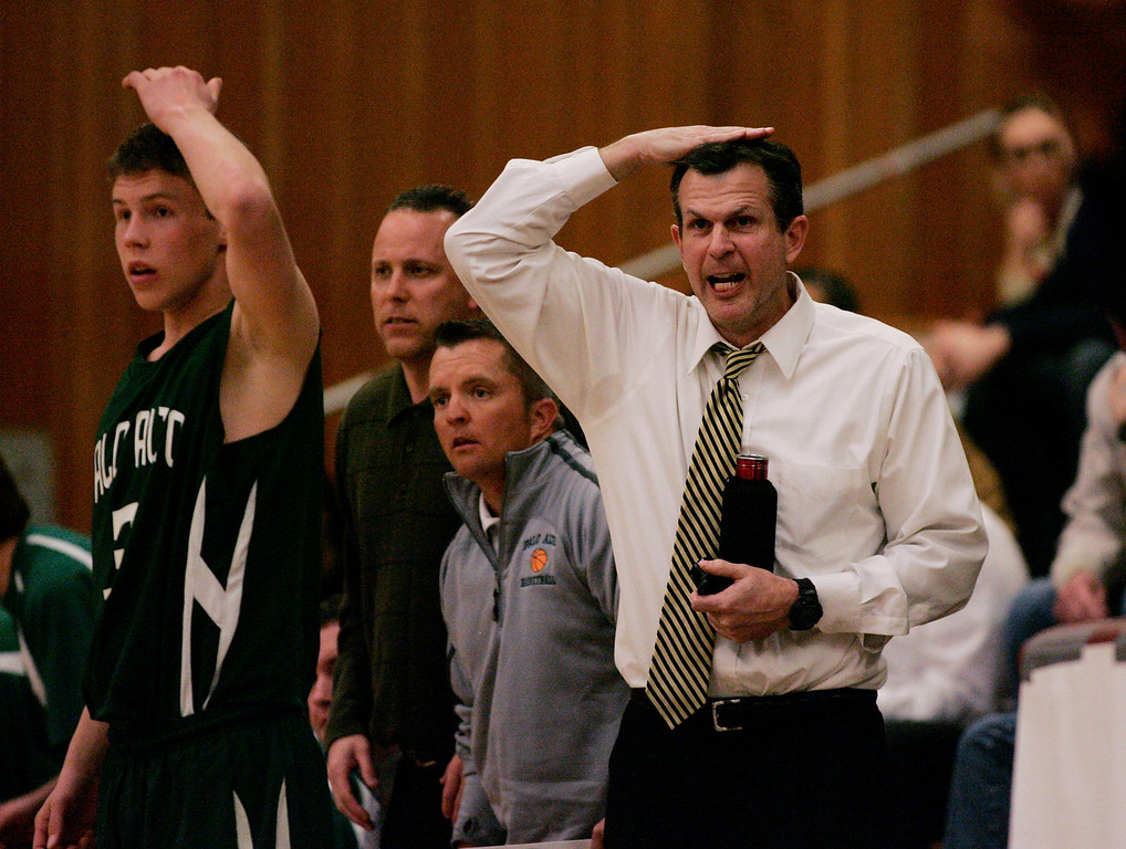 . Paly coach Adam Sax signals to his team in the first quarter at Piedmont Hills High School in San Jose, Calif. on Friday, Feb. 22, 2013.The Archbishop Riordan Crusaders played the Palo Alto Vikings in the CCS Open Division boys basketball quarterfinals. (Jim Gensheimer/Staff)