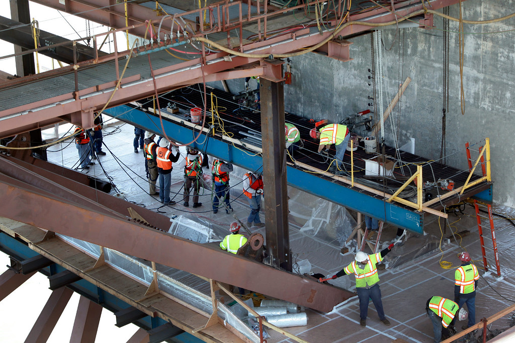 . Bay Bridge crews begin work repairing the problem of broken rods on the new eastern span by preparing a concrete pier for the installation of a saddle over the shear keys on Thursday afternoon May 23, 2013 in San Francisco, Calif. (Karl Mondon/Bay Area News Group)