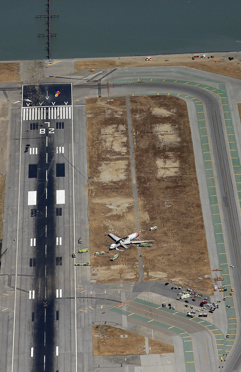 . A Boeing 777 airplane lies burned on the runway after it crash landed at San Francisco International Airport July 6, 2013 in San Francisco, California. An Asiana Airlines passenger aircraft coming from Seoul, South Korea crashed while landing. There has been at least two casualties reported. (Photo by Ezra Shaw/Getty Images)