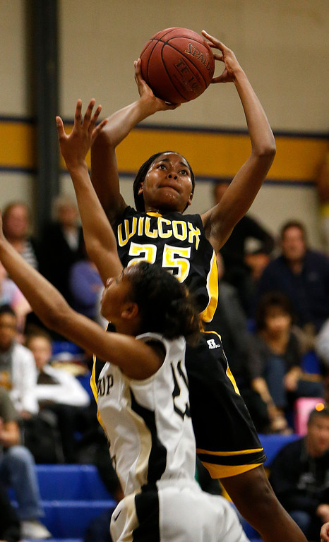 . Wilcox High School\'s D\'Airrien Jackson (25) takes a shot against Archbishop Mitty High School in the first period for the CCS Open Division Girls Basketball semifinals at Oak Grove High School in San Jose, Calif., on Wednesday, Feb. 27, 2013.  (Nhat V. Meyer/Staff)