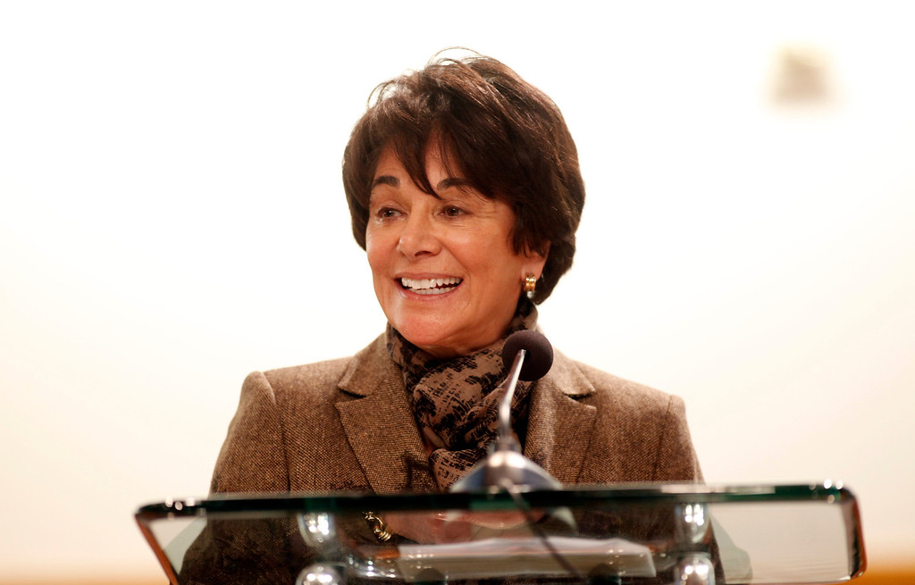 . Rep. Anna Eshoo, D-Palo Alto, introduces Supervisor Ken Yeager, president of the County of Santa Clara Board of Supervisors before his 2013 State of the County Address in the Board Chambers on Tuesday Jan. 29, 2013 in San Jose, Calif. (Karl Mondon/Staff)