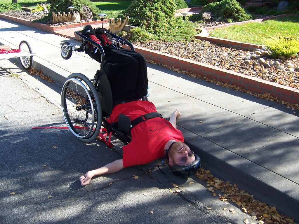 . Phillip Bennett shows his playful side. He had a daredevil streak, in spite of suffering from a degenerative muscular disease. He died in 2011. (Courtesy of Valerie Bennett)