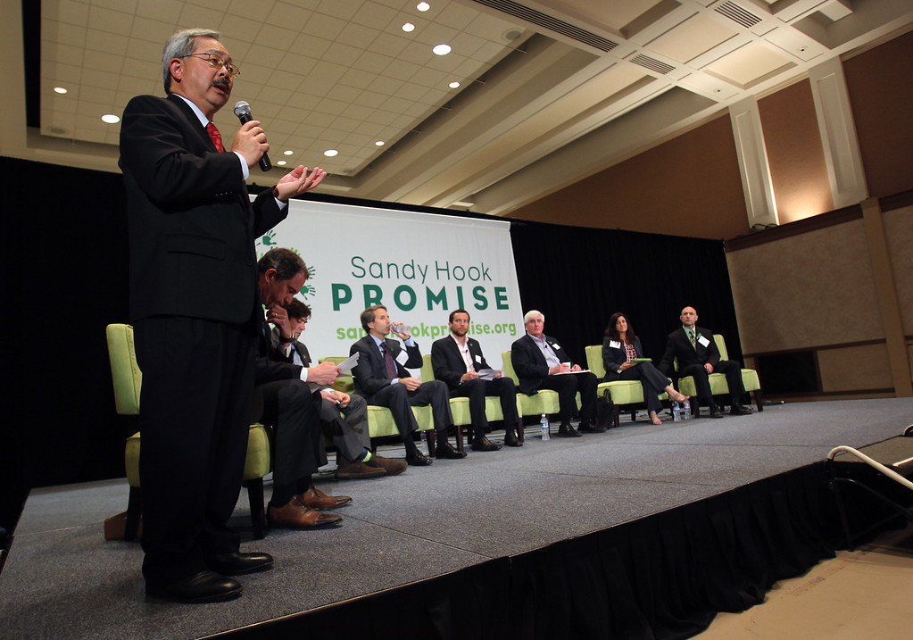 . San Francisco Mayor Ed Lee kicks off a town-hall-style forum during the launch event for the Sandy Hook Promise Innovation Initiative held in honor of the three month anniversary of the tragic shooting at Sandy Hook Elementary School at the Bill Graham Civic Auditorium in San Francisco, Calif., on Thursday, March 14, 2013. (Anda Chu/Staff)