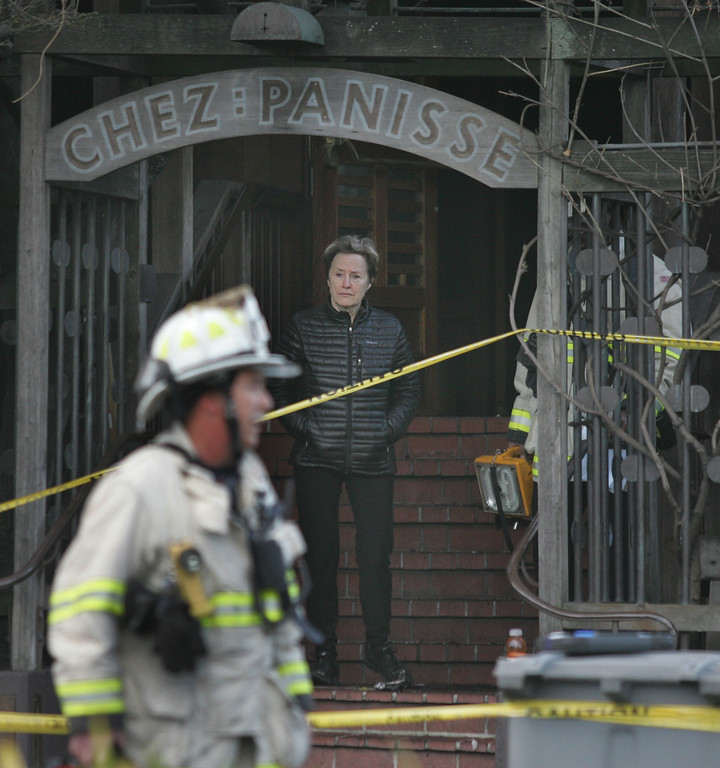 . Alice Waters, owner and executive chef of world famous Chez Panisse restaurant in Berkeley finishes a tour of her fire-damaged restaurant on Friday March 8, 2013. Officials are calling the fire, which started under the front porch at about 3 a.m., suspicious. (Doug Oakley/Staff)