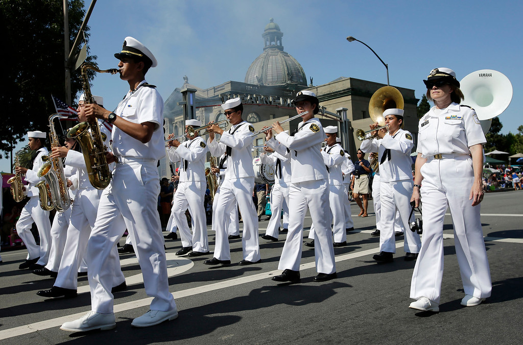 . The U.S. Naval Sea Cadets, Band of the West, participate in the annual Fourth of July parade in Redwood City, Calif. on Thursday, July 4, 2013. Considered the largest Independence Day parade in Northern California, it is celebrating its 75th year. (Gary Reyes/Bay Area News Group)