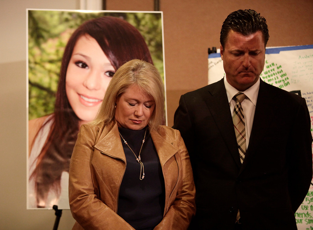 . Sheila Pott stands with attorney Robert Allard as the family speaks for the first time about the tragic death of Pott\'s daughter, Audrie Pott, at a news conference in San Jose, Calif. on Monday, April 15, 2013. The 15-year-old Saratoga High School student committed suicide last September following an alleged sexual assault by three 16-year-old classmates. Photos of the assault were shared publicly prompting her to take her own life eight days later. (Gary Reyes/Bay Area News Group)