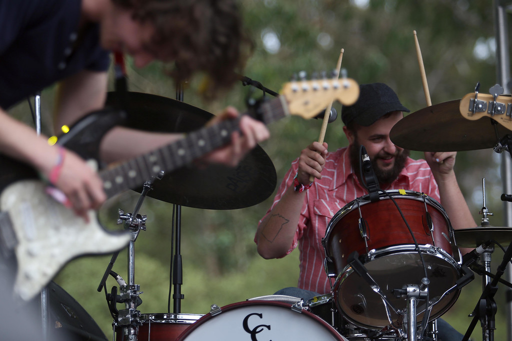 . Houndmouth guitarist Matt Myers, left, and drummer Shane Cody perform on the Panhandle stage during the 6th annual Outside Lands Music and Arts Festival in Golden Gate Park in San Francisco, Calif., on Friday, Aug. 9, 2013.  (Jane Tyska/Bay Area News Group)