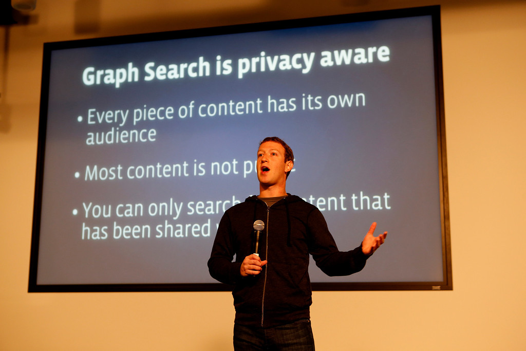 """. Mark Zuckerberg announces Graph Search during a press conference at Facebook in Menlo Park, Calif., on Tuesday, Jan. 15, 2013 The new search tool will show only information that has been posted publicly or shared with the person who is doing the search, according to Zuckerberg, who acknowledged privacy concerns while calling the new service \""""one of the coolest things we\'ve done in a while.\"""". (John Green/Staff)"""