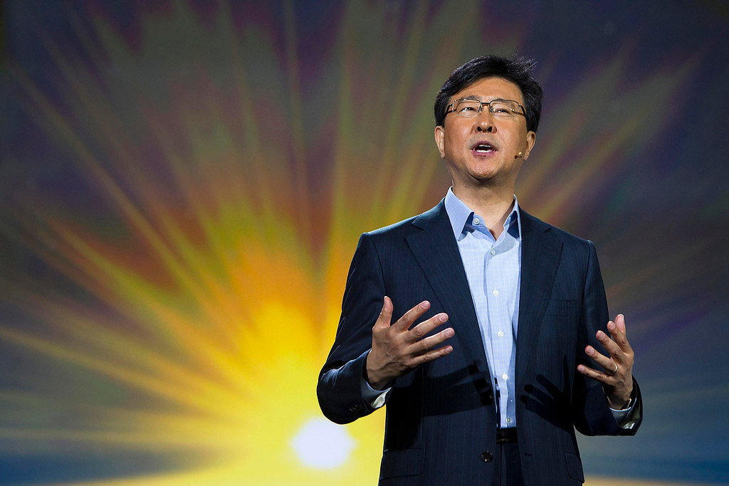 . Stephen Woo, president of Device Solutions Business for Samsung Electronics, speaks during a keynote address at the Consumer Electronics Show (CES) in Las Vegas January 9, 2013. Samsung introduced a new faster processor and prototype devices with flexible OLED screens. (REUTERS/Steve Marcus)