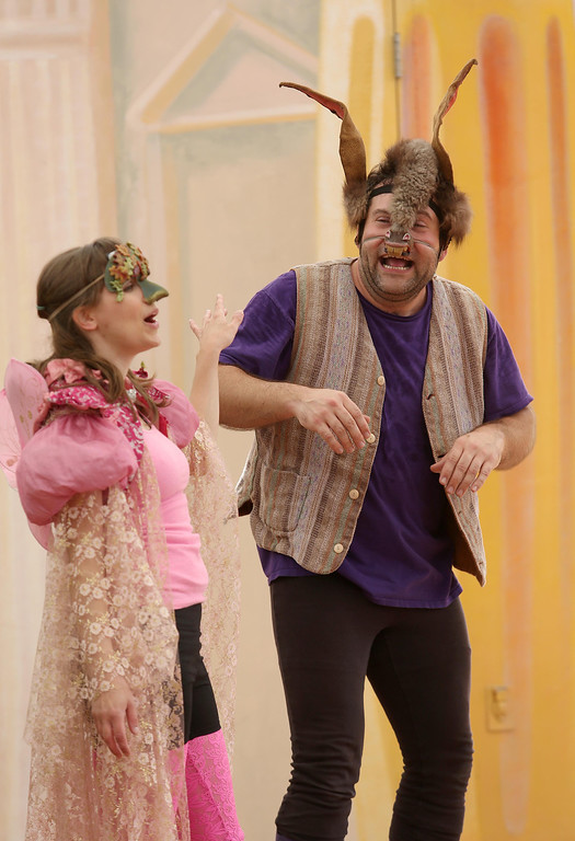 """. Steven Westdahl, right, and Amber Sommerfeld, left, perform in San Francisco Shakespeare\'s \""""A Midsummer Night\'s Dream\"""" on the Aesop\'s Playhouse stage at Children\'s Fairyland in Oakland, Calif., on Friday, March 15, 2013.  (Jane Tyska/Staff)"""