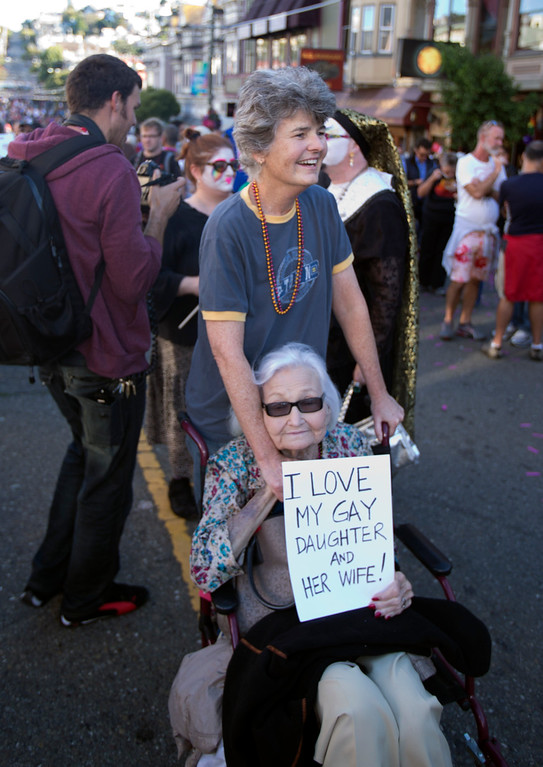 . Robin Wright, of Provincetown, Mass., brought her mother Ann Wright, of Oakland, to a block party in the city\'s Castro district to celebrate the U.S. Supreme Court\'s rulings on the Defense of Marriage Act and California\'s Proposition 8, Wednesday, June 26, 2013 in San Francisco, Calif. (D. Ross Cameron/Bay Area News Group)