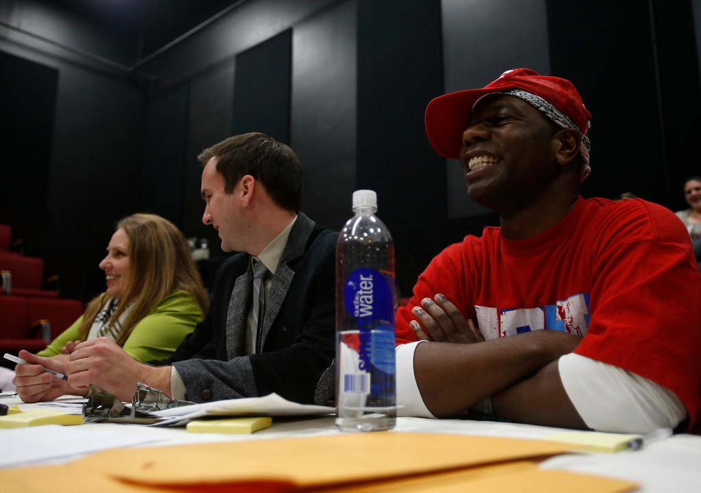 . From left to right, Elizabeth Neipp, show director, Clayton Lawrence, live entertainment manager, and Desi Hyter, choreographer, watch a person who was auditioning during a casting call for Great America theme park for their various characters and dancers in Hall Todd Theatre at San Jose State University on Wednesday, Feb. 6, 2013.  (Nhat V. Meyer/Staff)