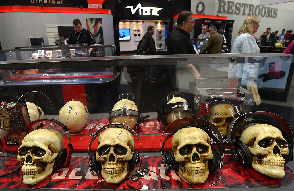 . Headphones at VIBE booth at the 2013 International CES at the Las Vegas Convention Center on January 8, 2013 in Las Vegas, Nevada. (JOE KLAMAR/AFP/Getty Images)