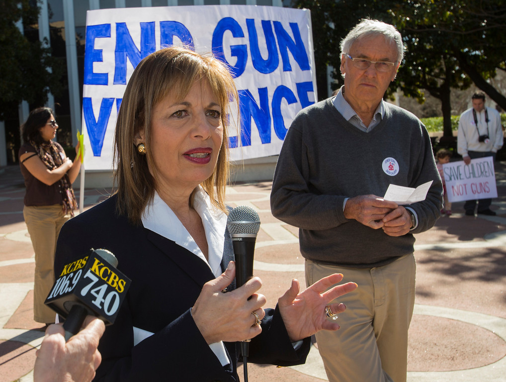 . U.S. Rep. Jackie Speier, D-14th Distric speaks at the Silicon Valley Community Against Gun Violence rally in front of Palo Alto City Hall on Saturday. (John Green/Staff)