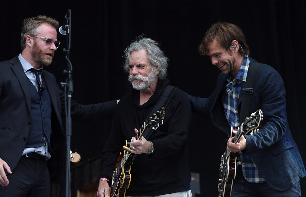 . The National lead singer Matt Berninger, left, and guitarist Aaron Dessner, right, thank Bob Weir, formerly of the Grateful Dead, after jamming with him on the Land\'s End stage during the 6th annual Outside Lands Music and Arts Festival in Golden Gate Park in San Francisco, Calif., on Friday, Aug. 9, 2013.  (Jane Tyska/Bay Area News Group)