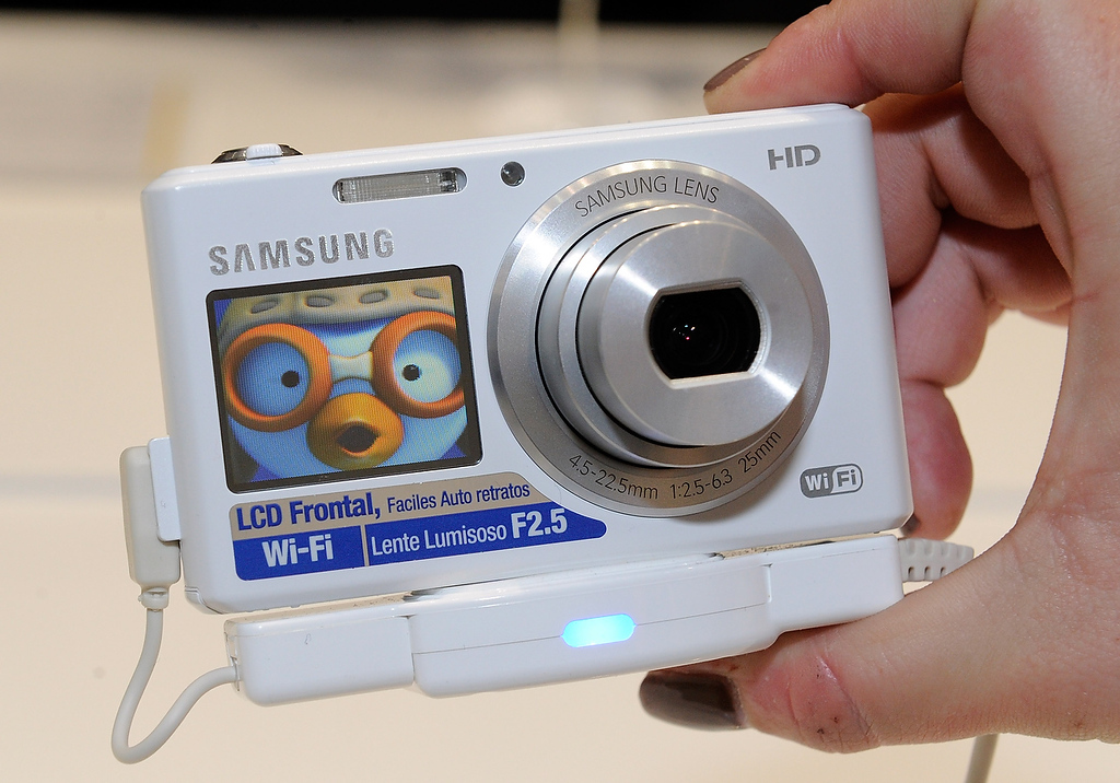 . The Samsung DV150F digital camera is seen at the 2013 International CES at the Las Vegas Convention Center on January 8, 2013 in Las Vegas, Nevada. The WiFi enabled camera front side LCD screen will sell for USD 150 later this year. (Photo by David Becker/Getty Images)