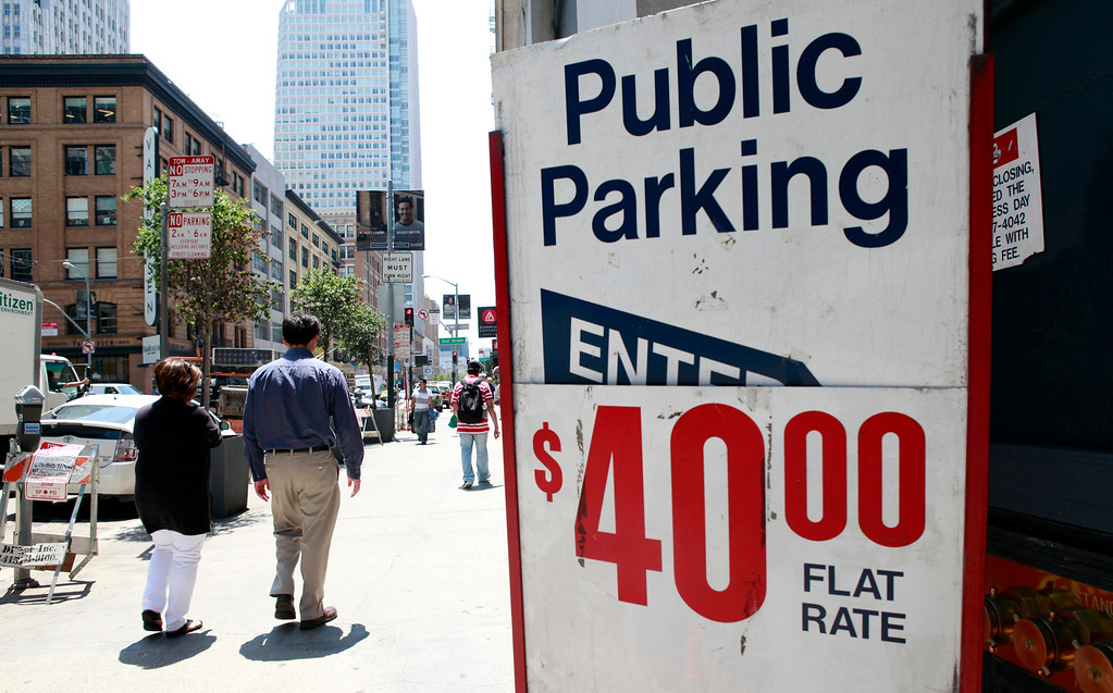 . Parking is always at a premium in downtown San Francisco, Calif., even more so in the wake of the two-day old BART strike. This lot on Mission near Second Street was charging a flat rate of $40 to park on Tuesday afternoon, July 2, 2013. (Karl Mondon/Bay Area News Group)