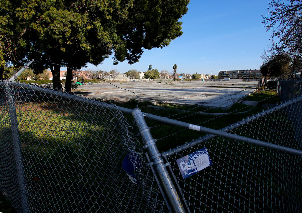 . An empty lot at the corner of E. Taylor St. and N. 6th St., looking south in Japantown in San Jose, Calif., on Monday, Feb. 25, 2013.  After years of on-again, off-again plans for development of five acres of the city�s former Corporation Yard in Japantown, the San Jose City Council on Tuesday is expected to approve a term sheet with a developer in an effort to revitalize Japantown with housing, retail, an urban plaza, performance space and strong historical connection.  (Nhat V. Meyer/Staff)