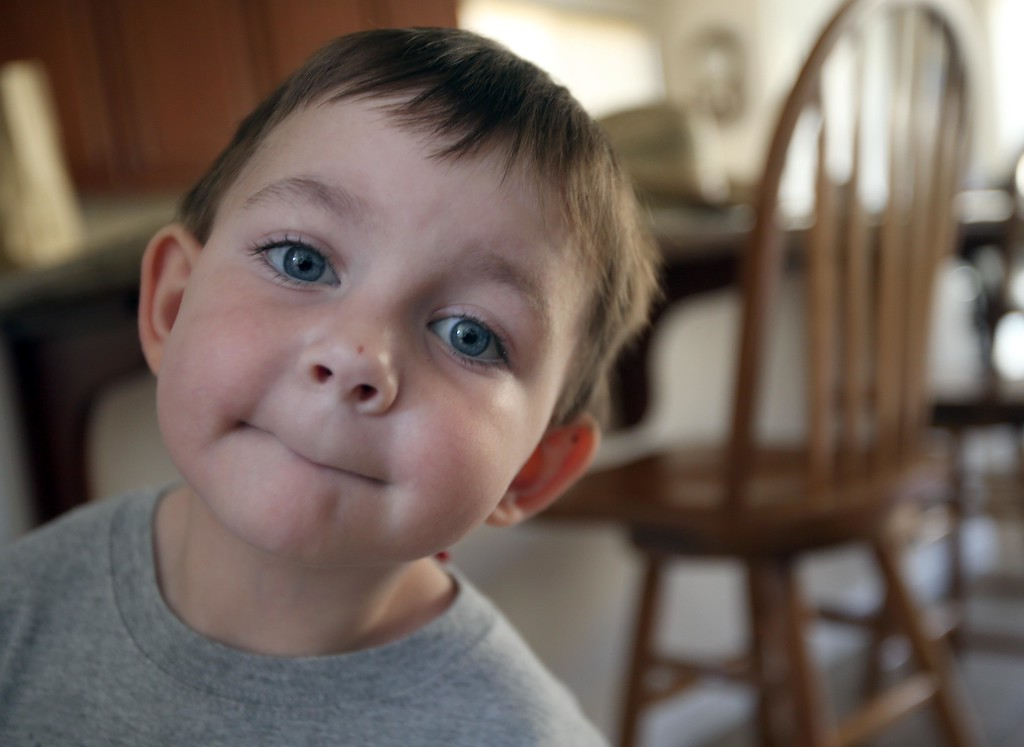 . Matthew Ouimet, 3, is photographed at home in Antioch, Calif., on Friday, May 23, 2014. (Jane Tyska/Bay Area News Group)