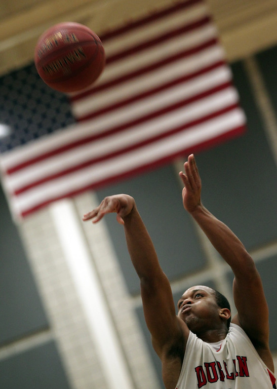 . Dublin\'s Cameron Moses (2) shoots a free throw in the second half of their high school basketball game in Dublin, Calif., on Friday, Jan. 18, 2013. (Anda Chu/Staff)